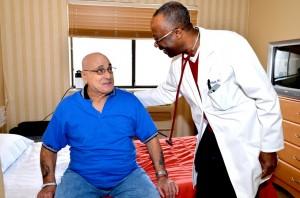 Doctor checks on resident