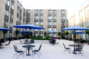 Sea Crest Exterior plaza with covered tables